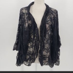 Free People Black Sheer Lace Kimono/OS
